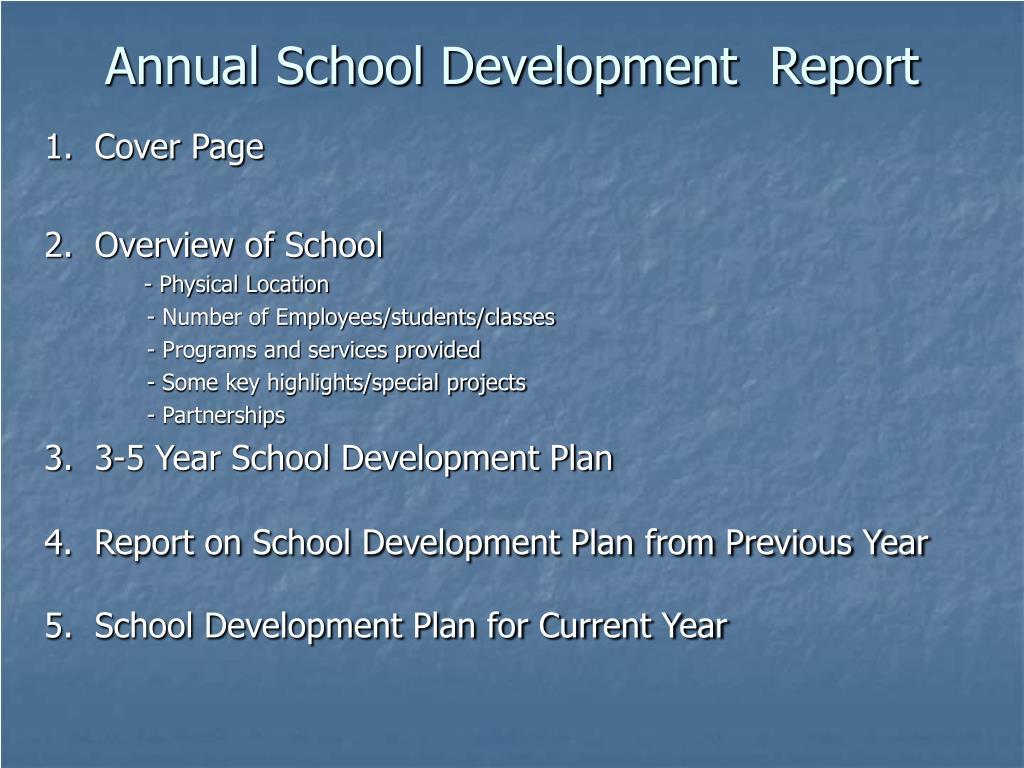 Annual School Development  Report