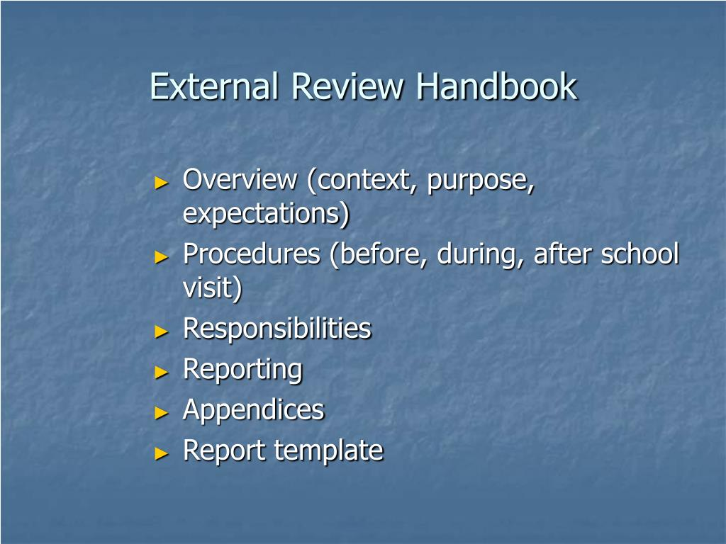 External Review Handbook