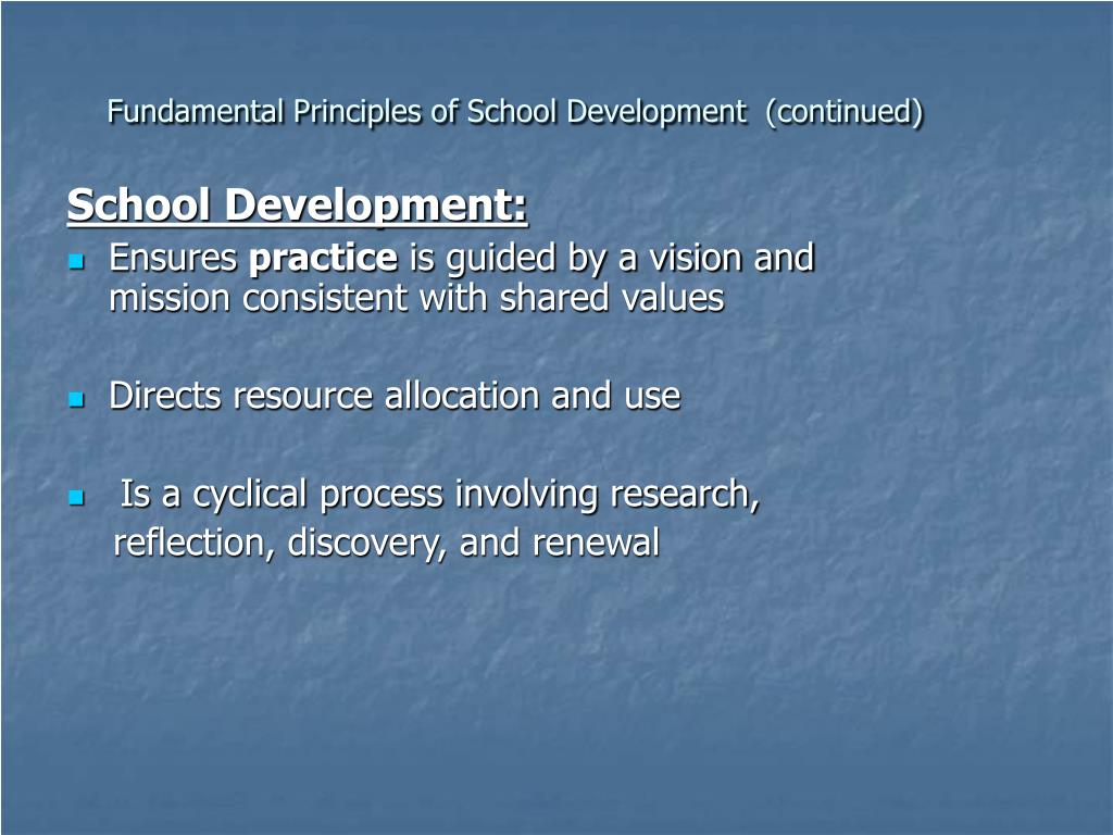Fundamental Principles of School Development