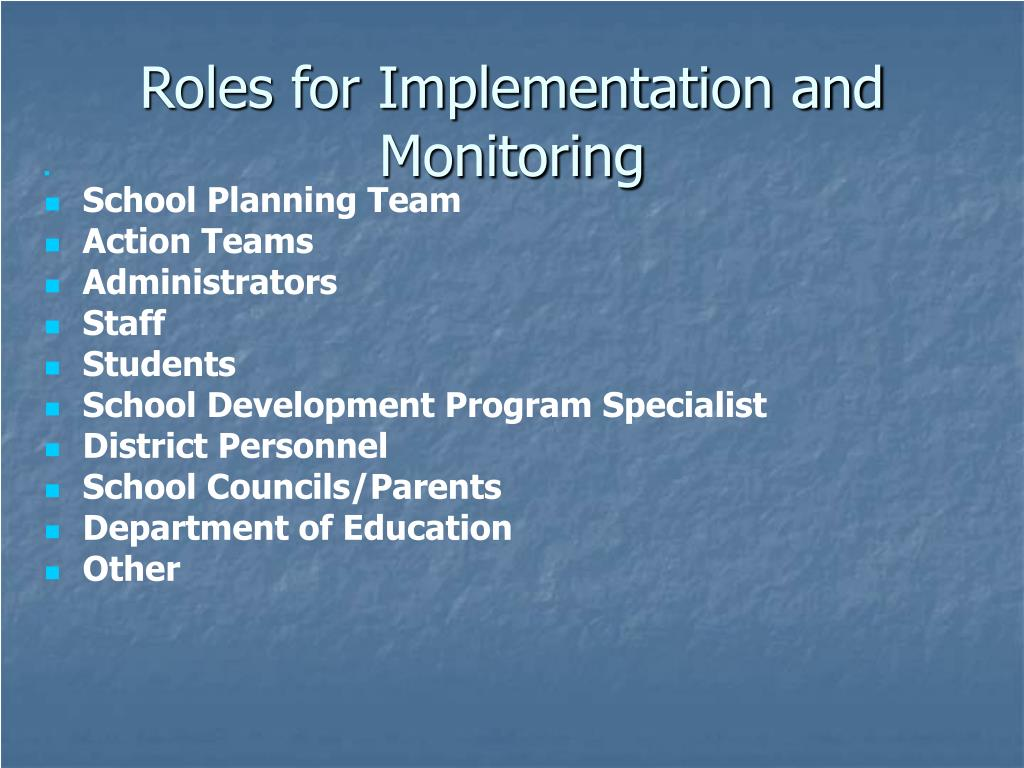 Roles for Implementation and Monitoring
