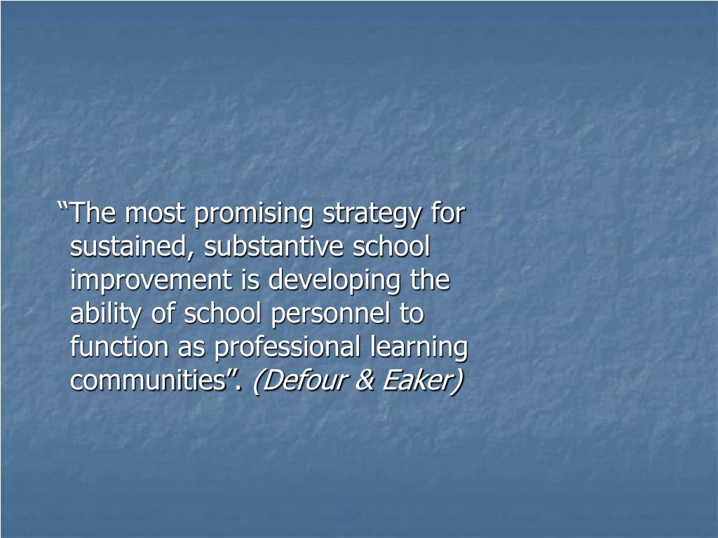 """The most promising strategy for sustained, substantive school improvement is developing the ability of school personnel to function as professional learning communities""."