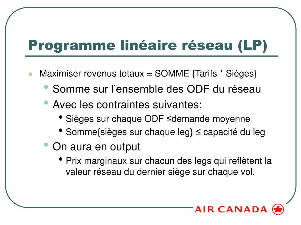 Programme linéaire réseau (LP)