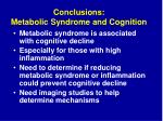 conclusions metabolic syndrome and cognition