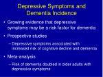 depressive symptoms and dementia incidence