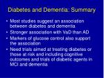 diabetes and dementia summary