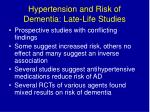 hypertension and risk of dementia late life studies