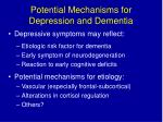 potential mechanisms for depression and dementia