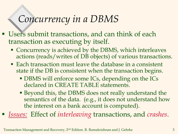 Concurrency in a dbms