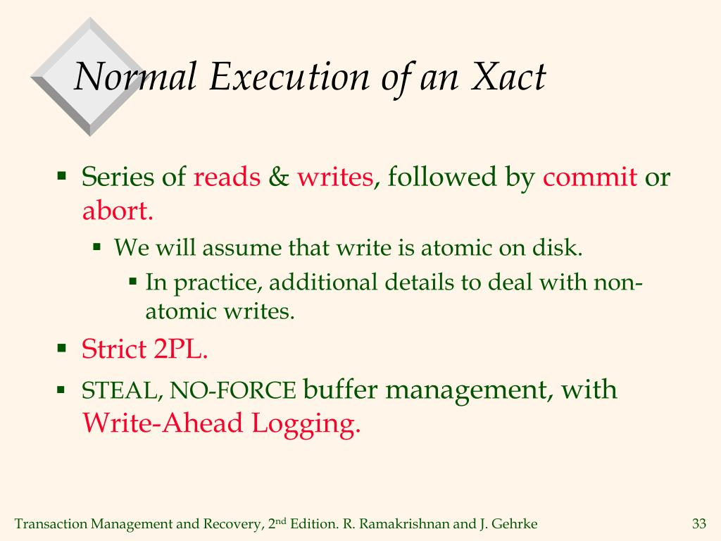 Normal Execution of an Xact