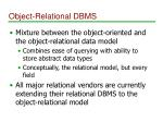 object relational dbms