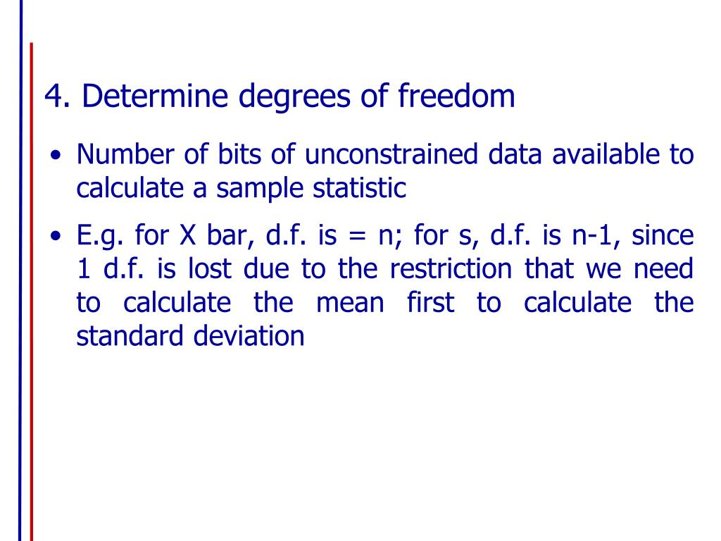 4. Determine degrees of freedom