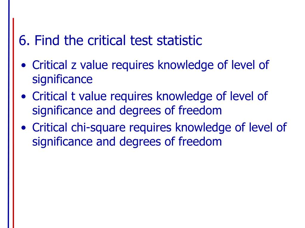 6. Find the critical test statistic