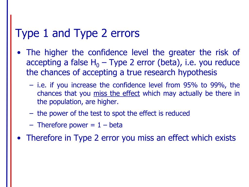 Type 1 and Type 2 errors