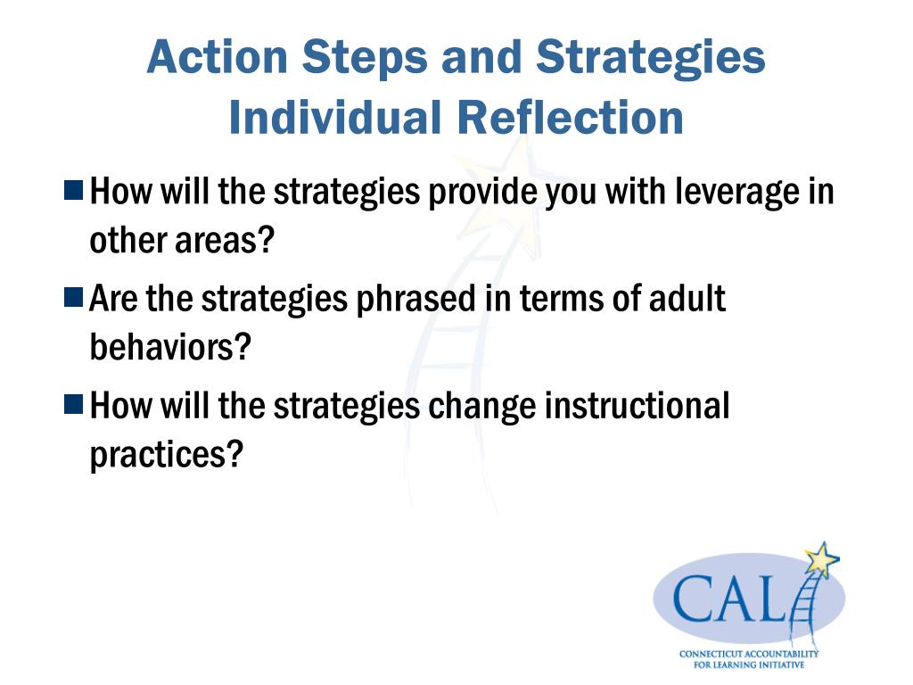Action Steps and Strategies Individual Reflection