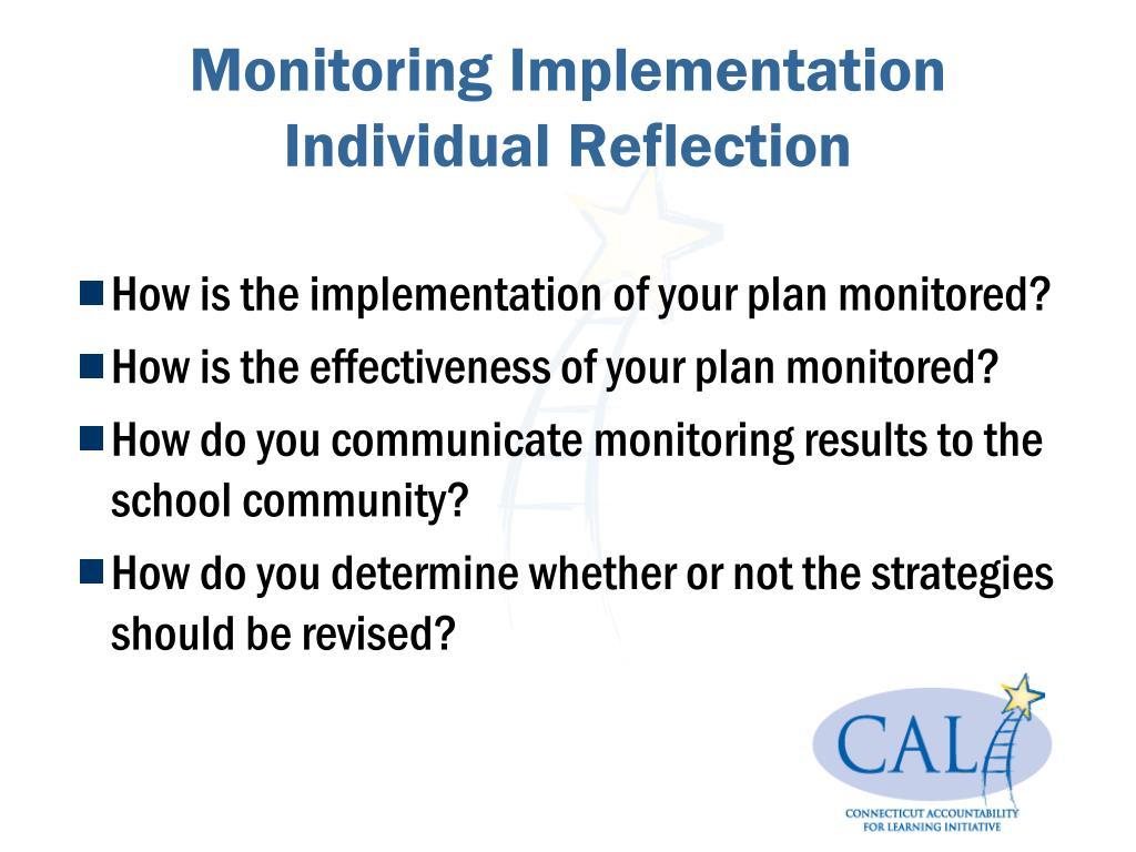 Monitoring Implementation Individual Reflection