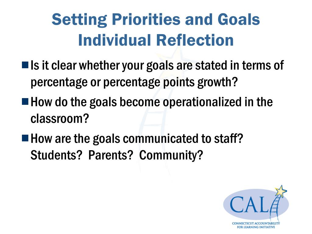 Setting Priorities and Goals Individual Reflection