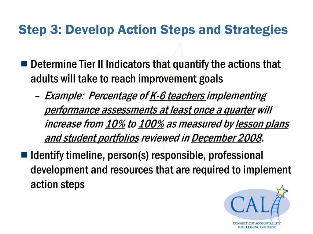 Step 3: Develop Action Steps and Strategies