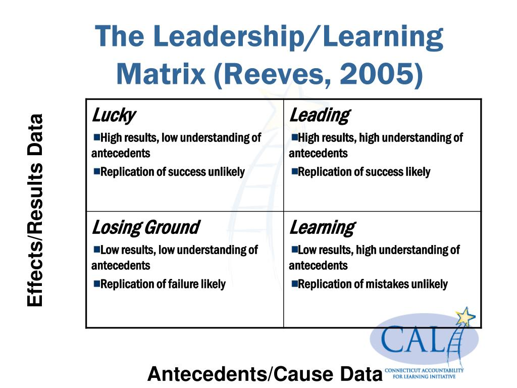 The Leadership/Learning Matrix (Reeves, 2005)