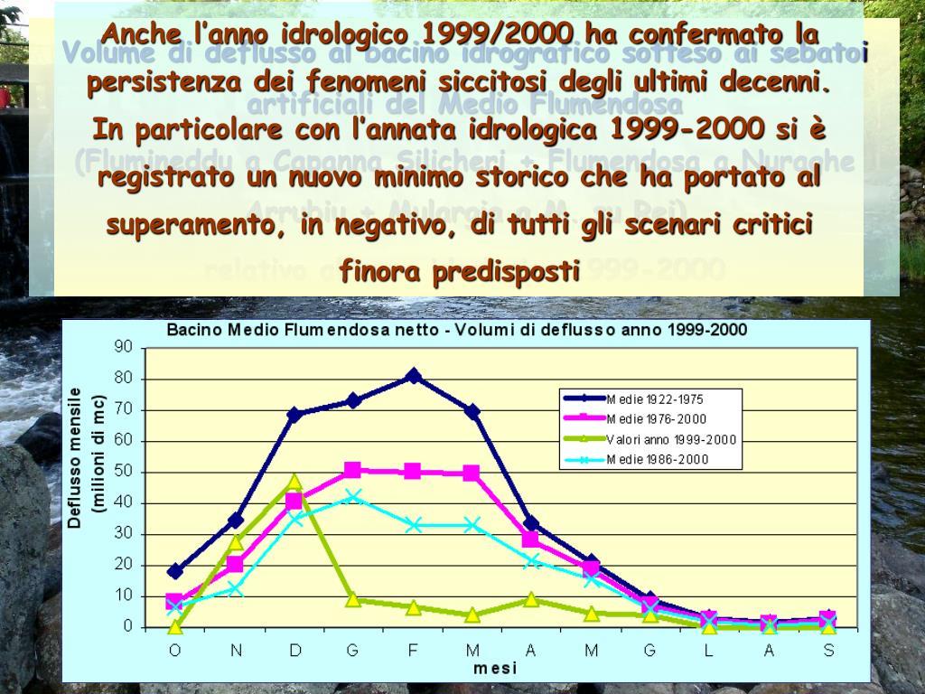 Anche l'anno idrologico 1999/2000 ha confermato la persistenza dei fenomeni siccitosi degli ultimi decenni.