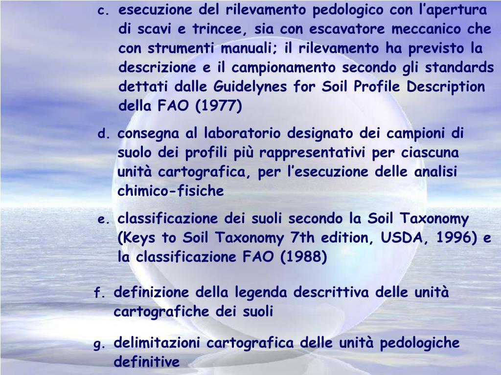 esecuzione del rilevamento pedologico con l'apertura di scavi e trincee, sia con escavatore meccanico che con strumenti manuali; il rilevamento ha previsto la descrizione e il campionamento secondo gli standards dettati dalle Guidelynes for Soil Profile Description della FAO (1977)