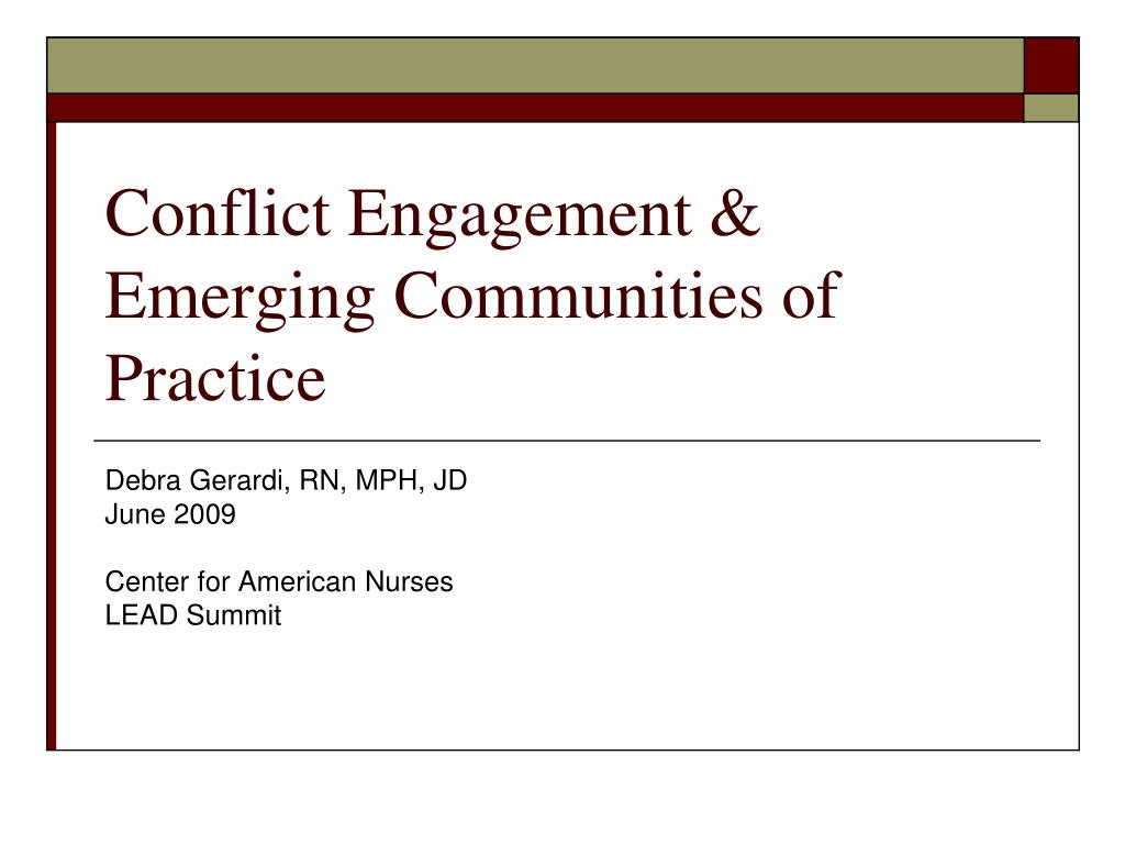 conflict engagement emerging communities of practice