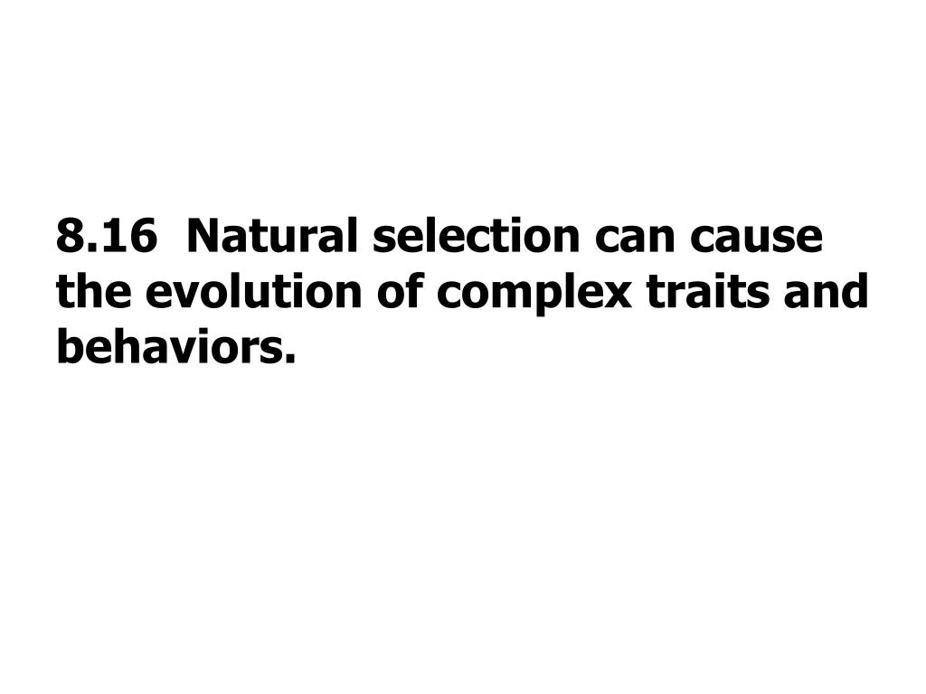 8.16  Natural selection can cause the evolution of complex traits and behaviors.