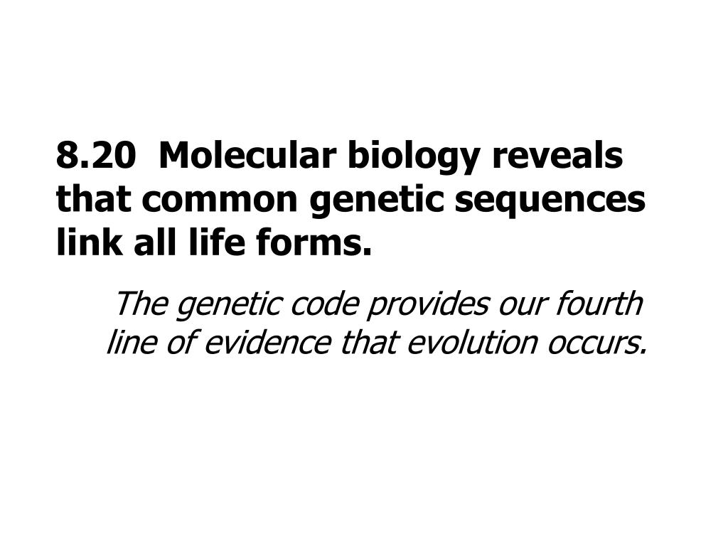 8.20  Molecular biology reveals that common genetic sequences link all life forms.