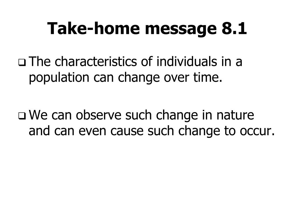 Take-home message 8.1