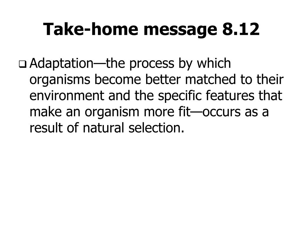 Take-home message 8.12