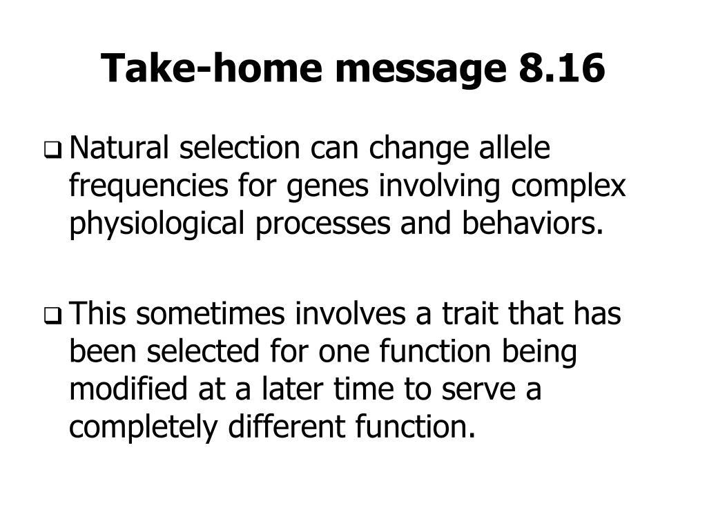 Take-home message 8.16