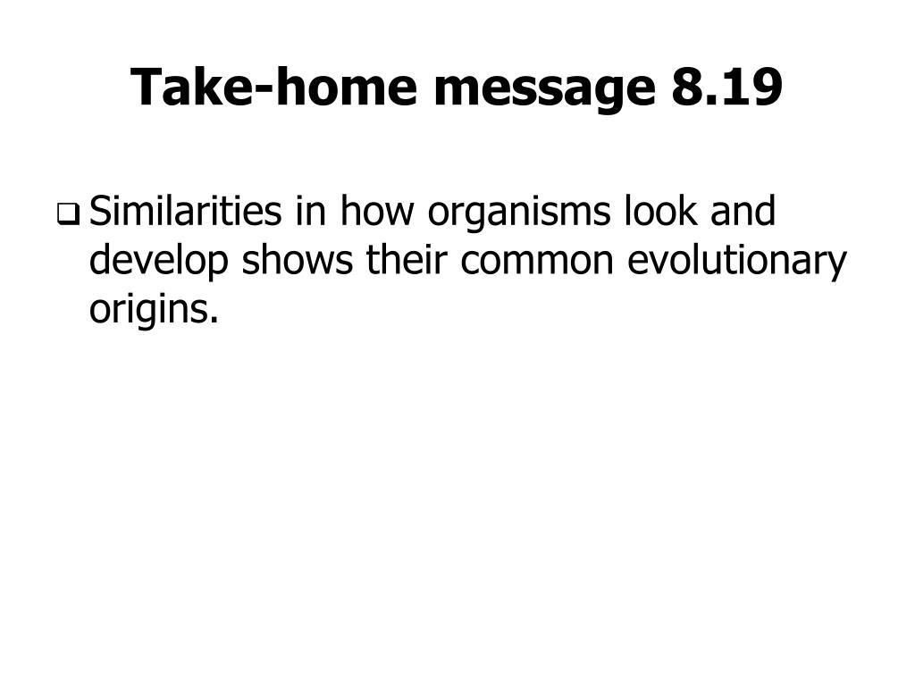 Take-home message 8.19