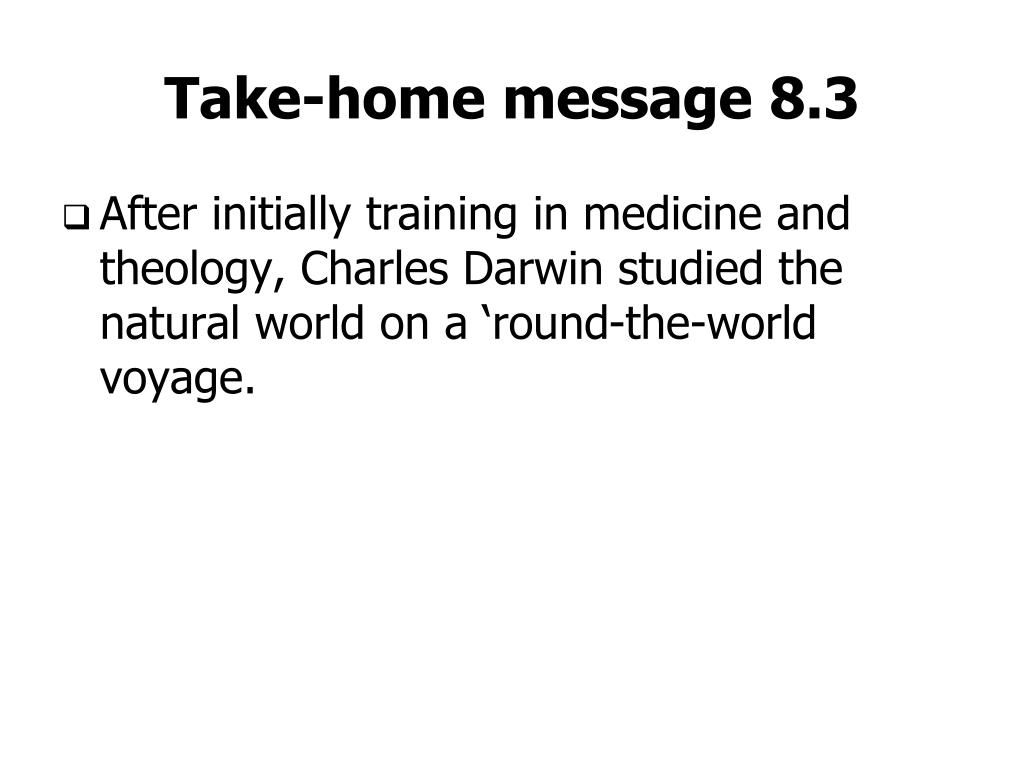 Take-home message 8.3