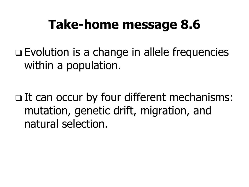 Take-home message 8.6