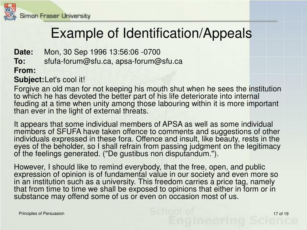 Example of Identification/Appeals
