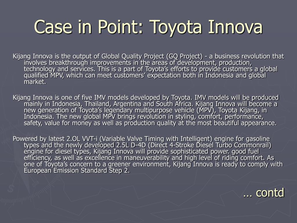 Case in Point: Toyota Innova