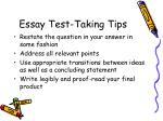 essay test taking tips
