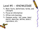 level 1 knowledge