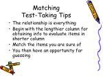 matching test taking tips