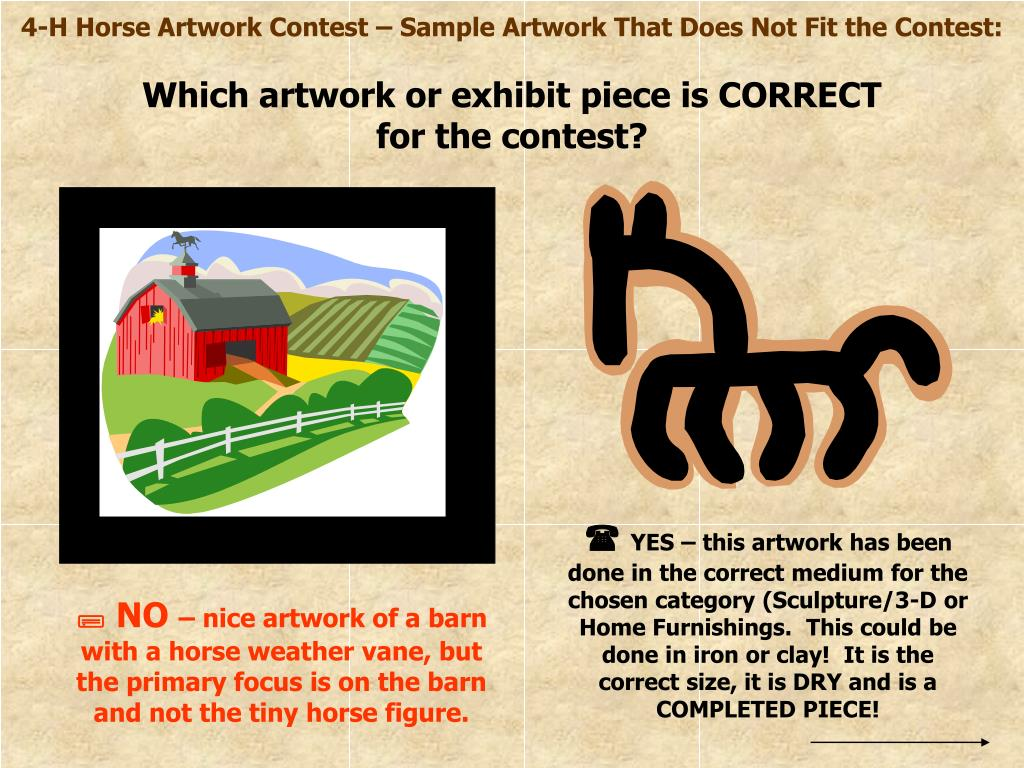4-H Horse Artwork Contest – Sample Artwork That Does Not Fit the Contest: