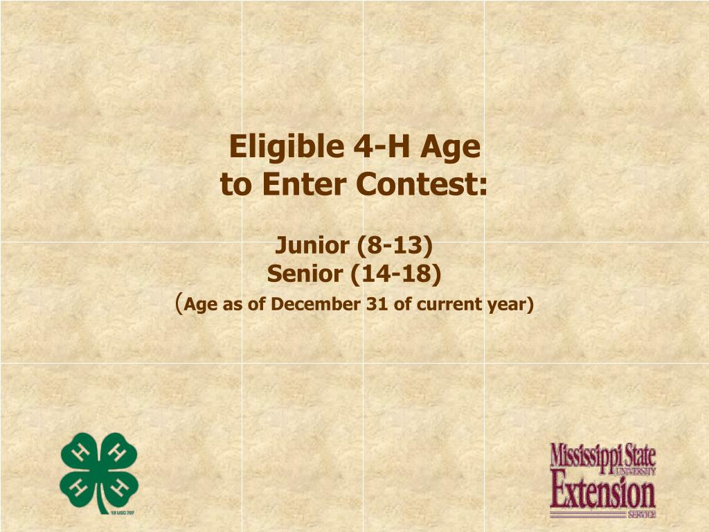Eligible 4-H Age