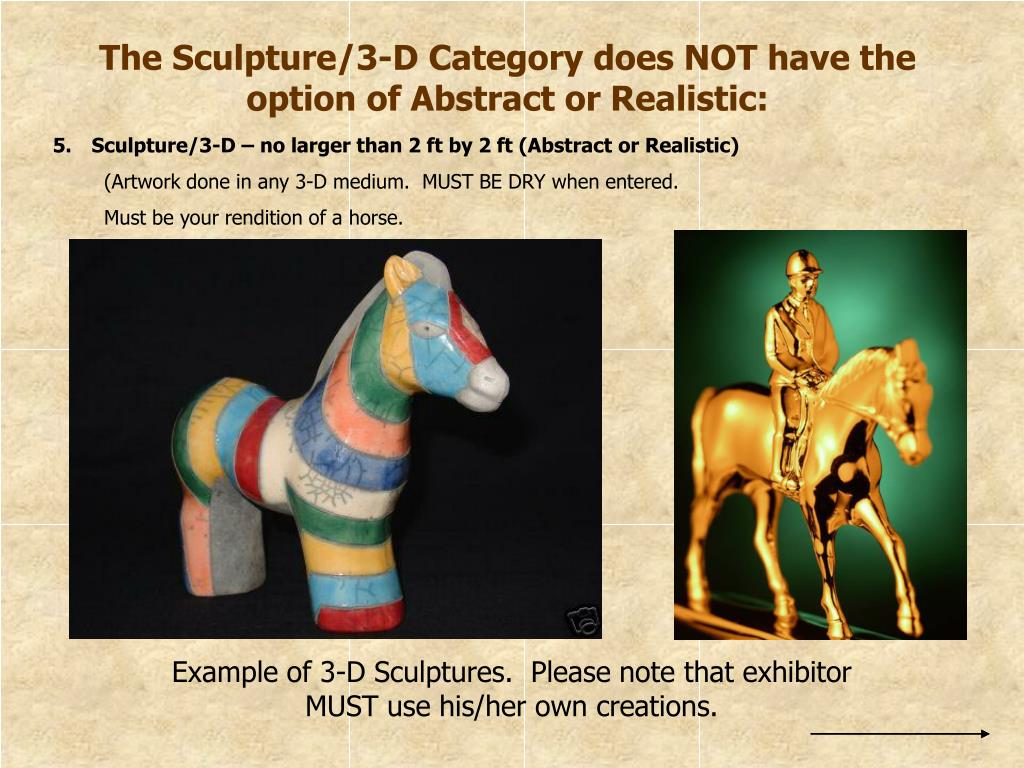 The Sculpture/3-D Category does NOT have the option of Abstract or Realistic: