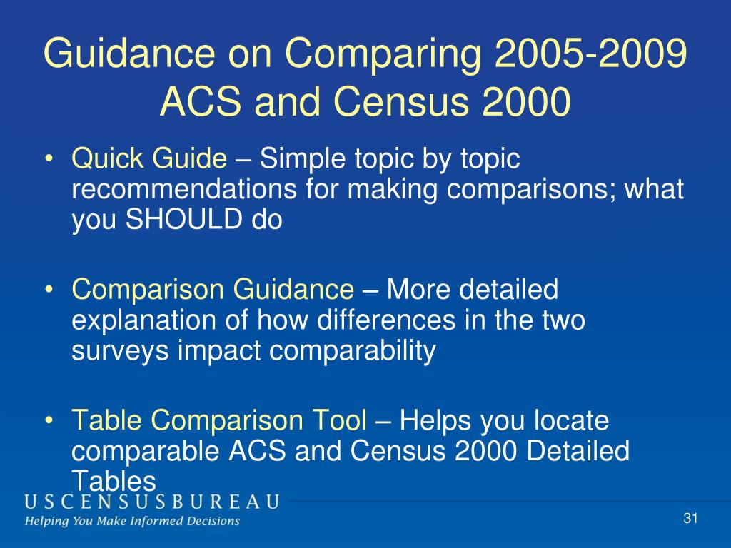 Guidance on Comparing 2005-2009 ACS and Census 2000