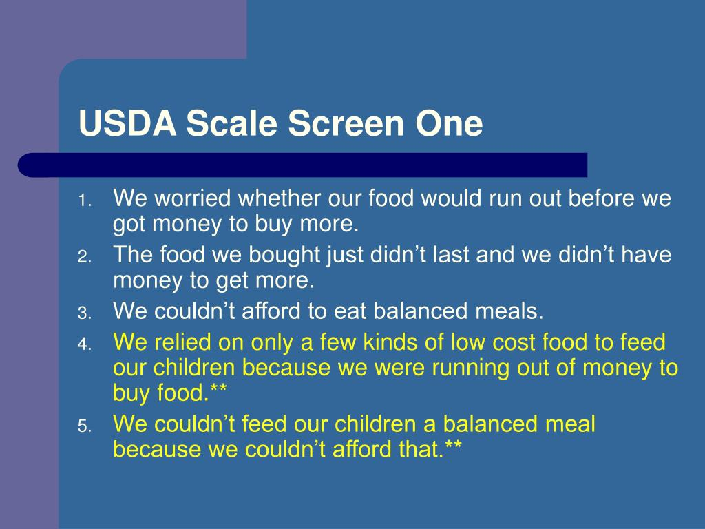 USDA Scale Screen One