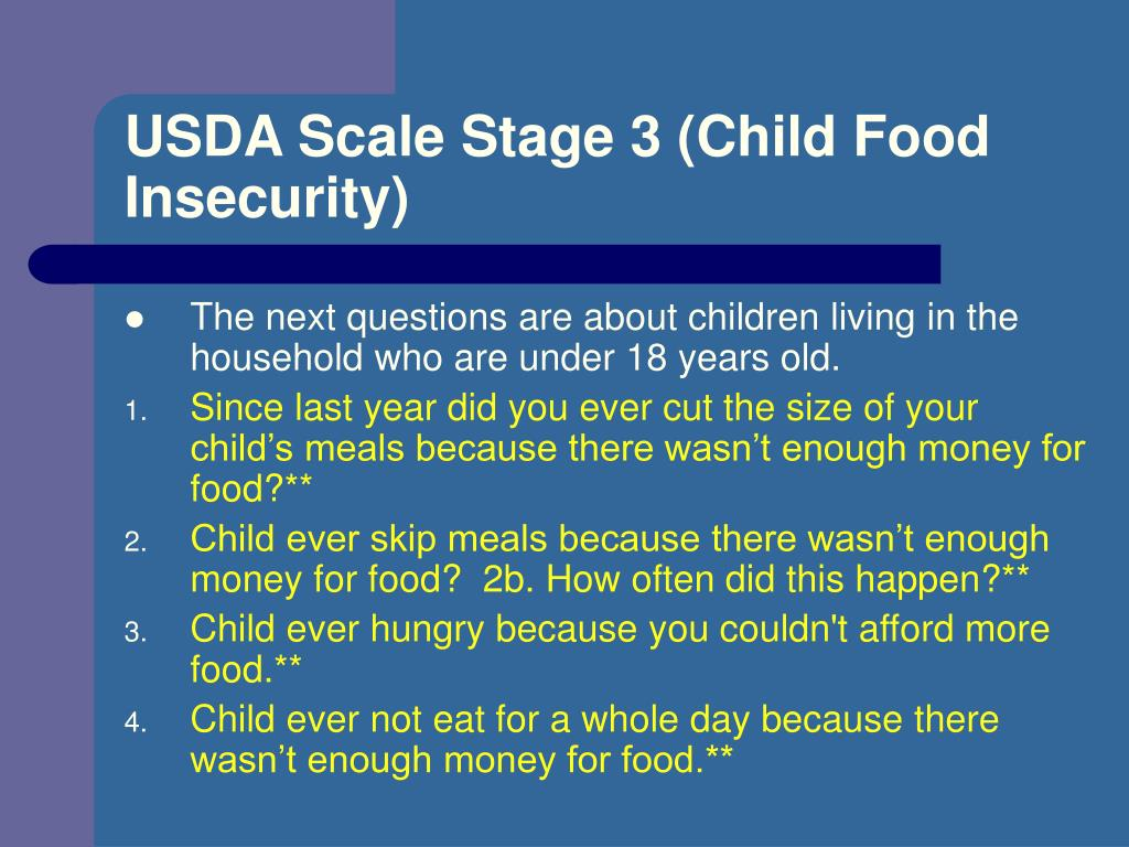 USDA Scale Stage 3 (Child Food Insecurity)