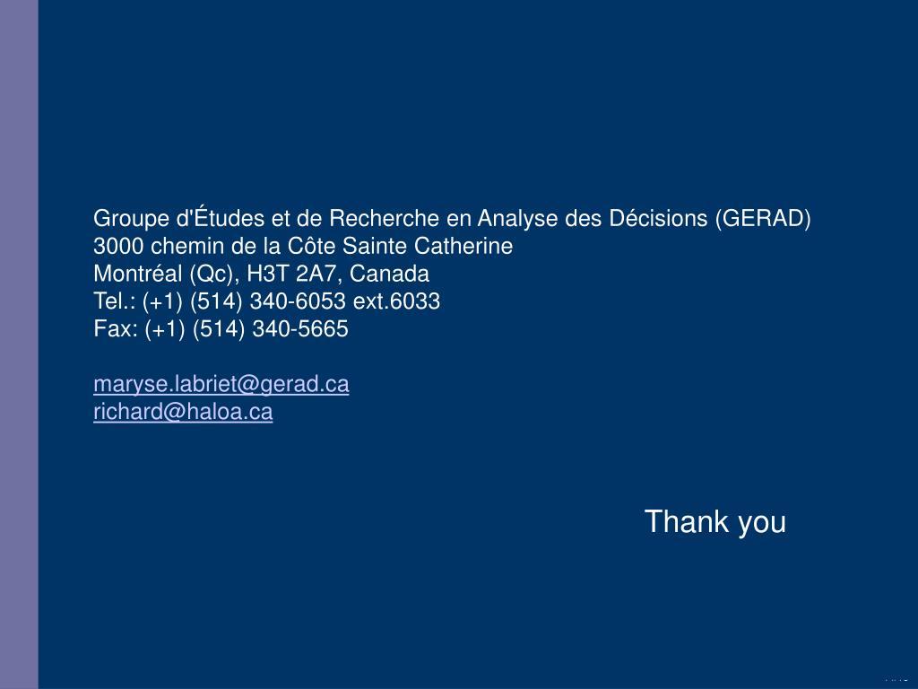 Groupe d'Études et de Recherche en Analyse des Décisions (GERAD)