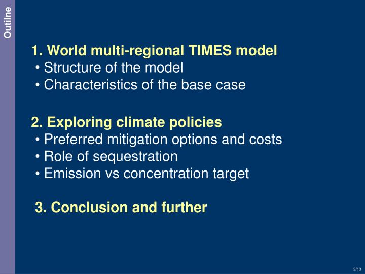 1. World multi-regional TIMES model