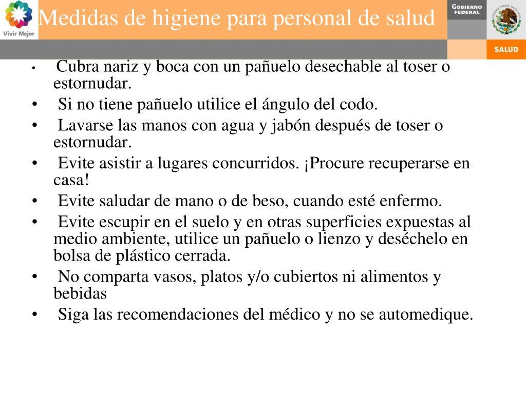 Medidas de higiene para personal de salud