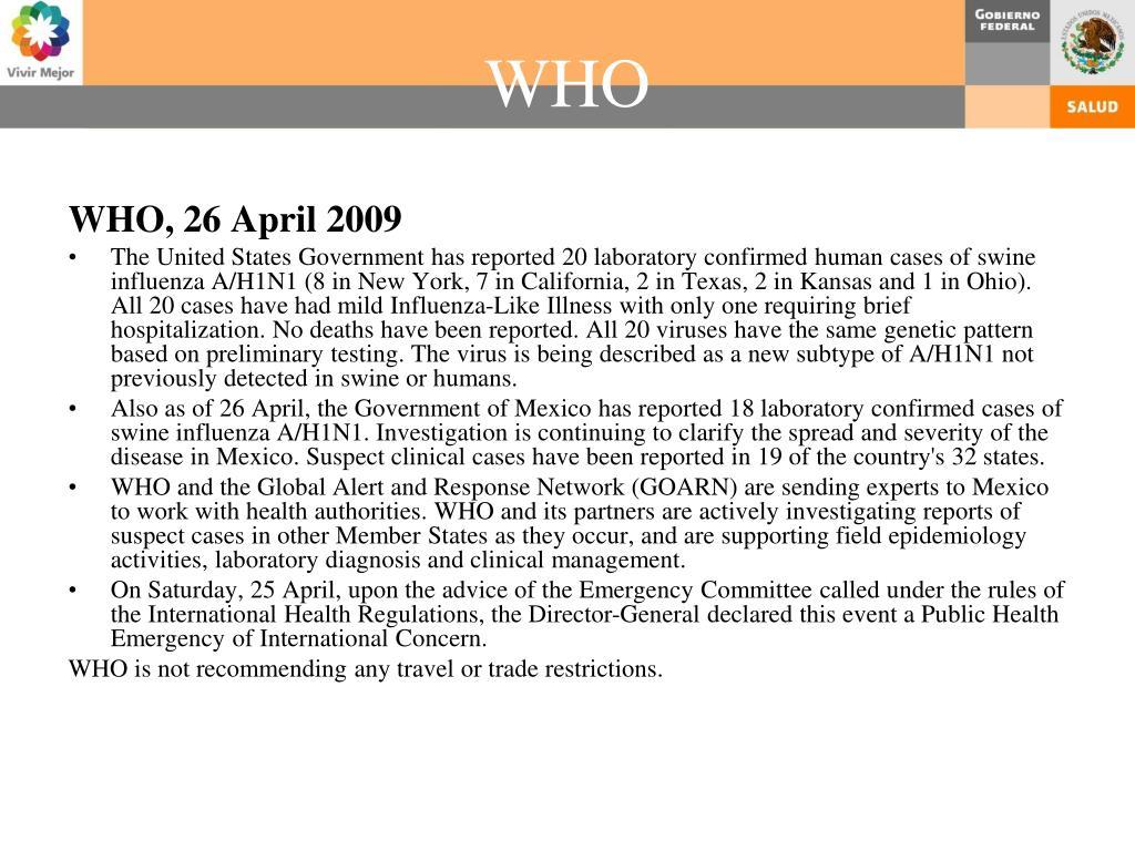 WHO, 26 April 2009