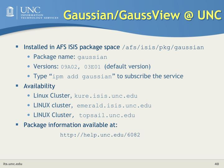 Gaussian/GaussView @ UNC