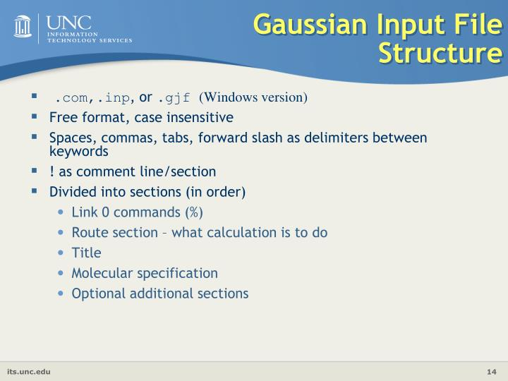 Gaussian Input File Structure